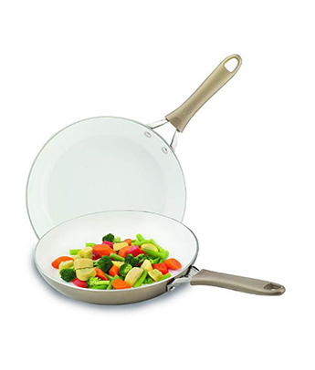 WearEver C944S2 Pure Living Nonstick Ceramic Coating Scratch Resistant PTFE  PFOA and Cadmium Free Dishwasher Safe Oven Safe 10-Inch and 8-Inch Fry Pan